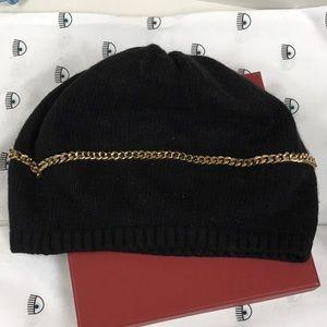 Portolano Black Gold Chain Embellished Wool Hat